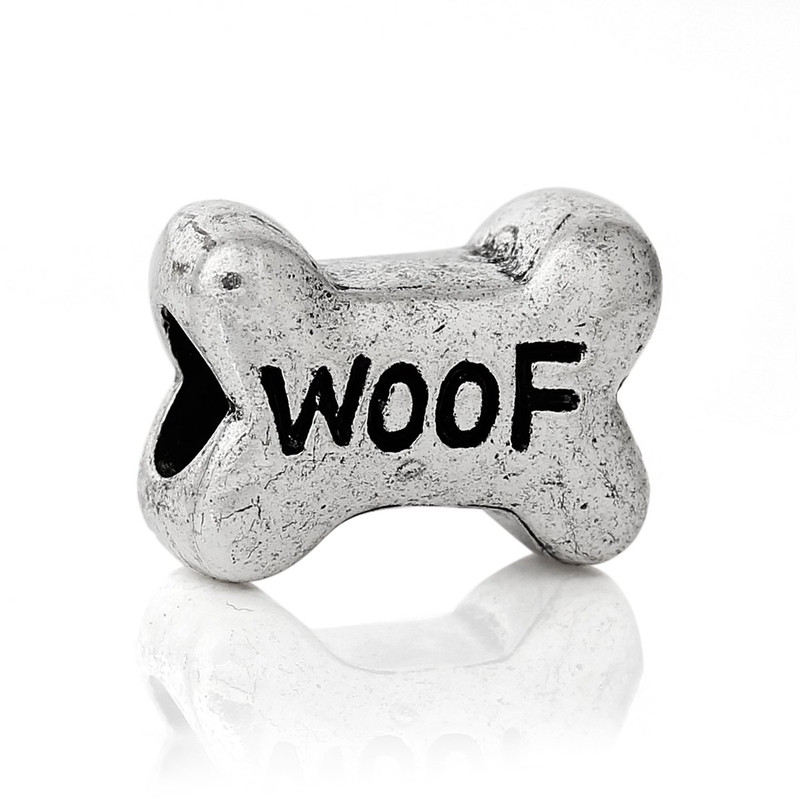 19 Woof Dog Bone Charm Beads 15x11mm with 4.5mm Hole