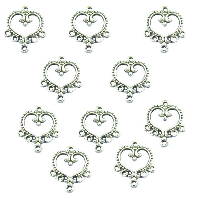 30 Charm Pendants Connectors Heart Antique Silver 19x21mm