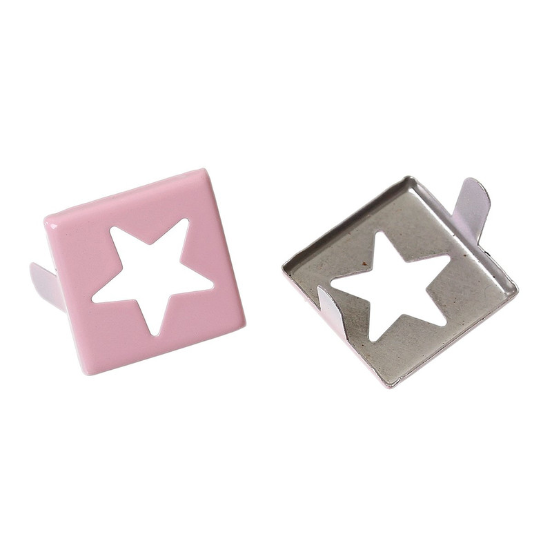Spike Rivets Studs Square Silver Tone Star Pattern Painted Pink 15mm X 15mm, 250 Pcs
