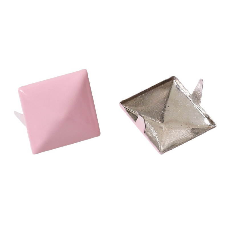 250 Spike Rivets Studs Square Silver Tone Painted Pink 12mm 1/2 Inch