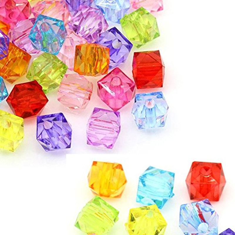 280 Acrylic Spacer Beads Cube Random Mix 8mm Hole 1.5mm