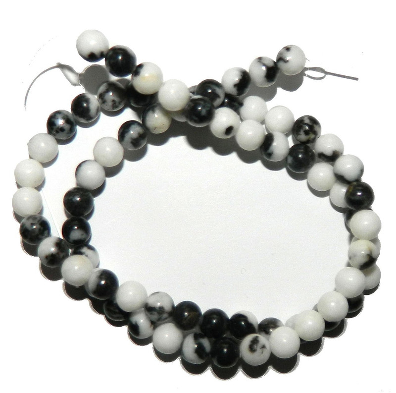 "6mm Black White Zebra Jasper Natural  Round Beads 40cm 15""  Stone"