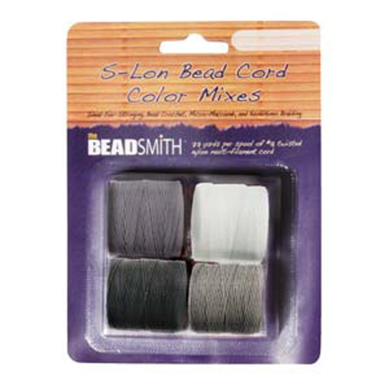 4 Spools Super-lon #18 Nylon Beading Jewelry Stringing Cord S-lon Black White Grey Mix
