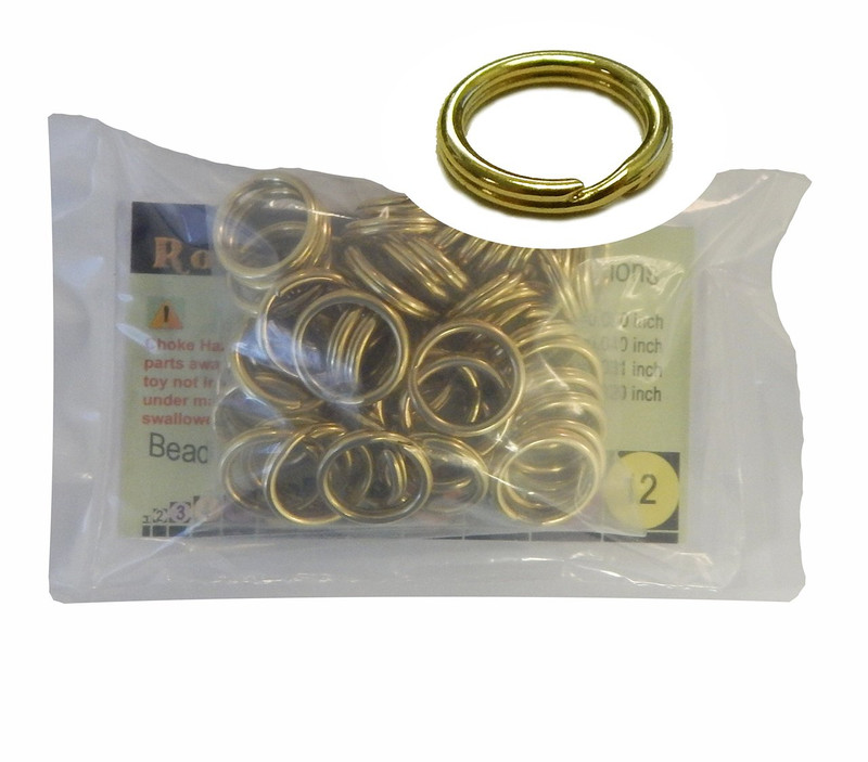 48 Split Ring  Lanyard, Dog Tag  Polished Brass 17mm USA