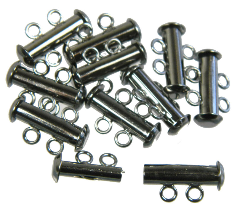 10 Pack Multi 2 Strand Slide Lock Clasps Black Oxide Gunmetal Plated Brass CLSP03BO