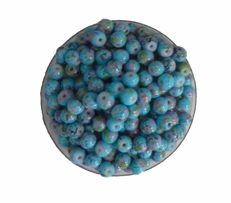 6mm Round Marbled Luster Glass Beads 120 Beads Blue N Pink