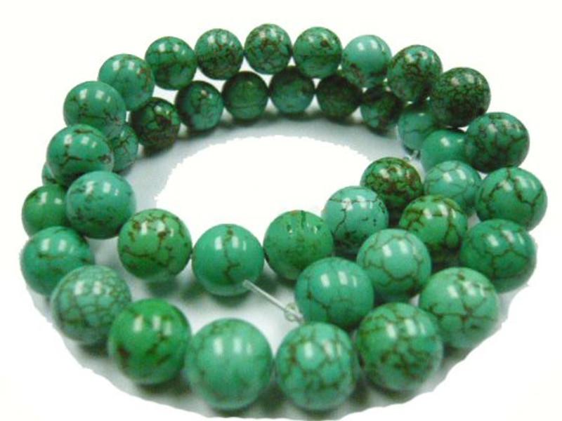 "12mm Magnesite Dyed Green Turquoise (White Buffalo ) Round Beads 40cm 15"" Stone"