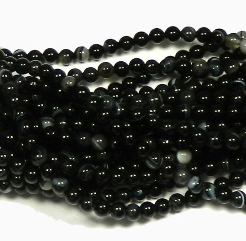 "6mm Black Agate  Round Beads 40cm 15""  Stone"