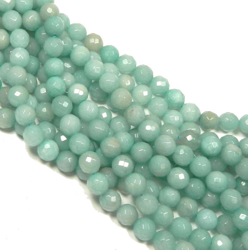 "10mm Amazonite Faceted Round Beads 40cm 15"" Stone"
