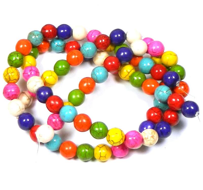 "10mm Round Magnesite Dyed/StabilizedWhite Buffalo  Round Beads 40cm 30""  Stone"
