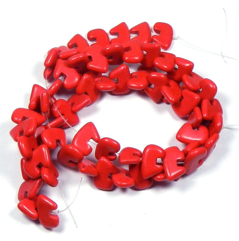"""12x18mm Synthetic/resin Coral Red Color Zuni Bear Beads 15"""" of 32 Beads"""