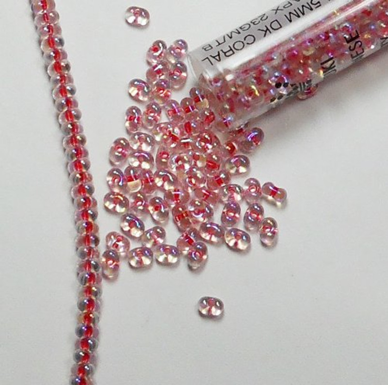 Coral Crystal Ab Rainbow Miyuki Berry Bead 2.5x4.5mm Seed Bead Glass 22gr