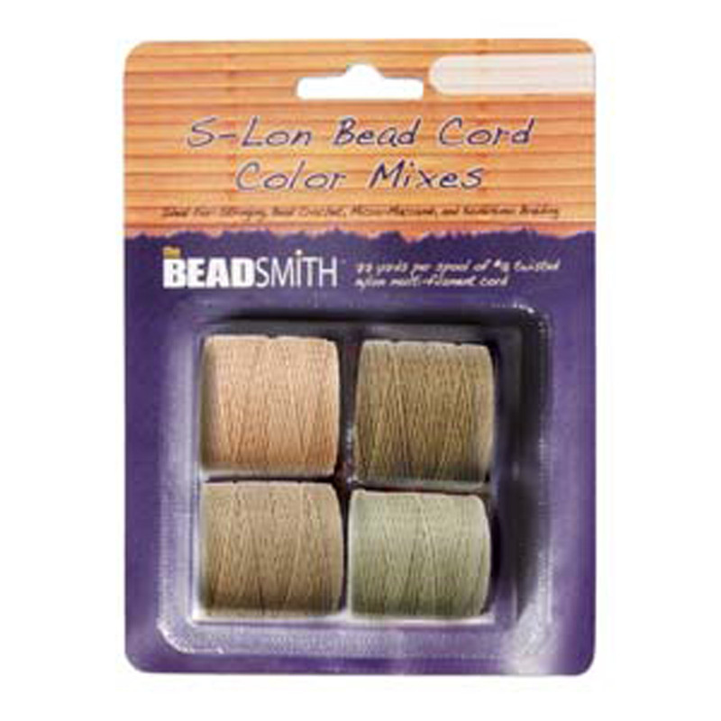 4 Spools Super-lon #18 Nylon Beading Jewelry Stringing Cord S-lon Warm Mix
