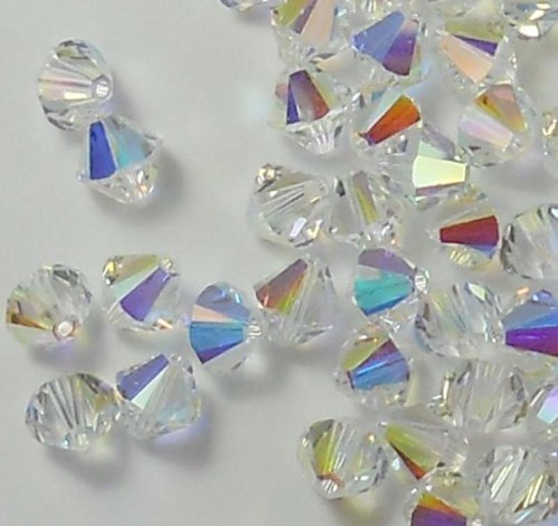 4mm Clear AB Swarovski Bicone Beads Xillian 144 Piece By Crystal Passions Distributor of Swarovski Elements Crystals Made in Austria Xillion Cut 5328 H20-1101CY