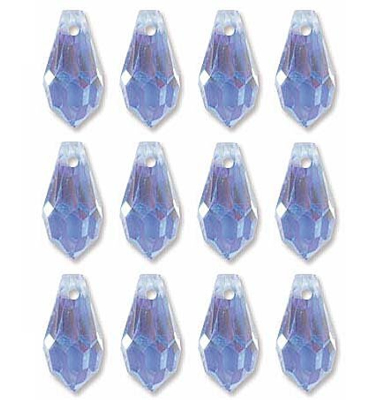6.5x13mm Preciosa Czech Crystal Faceted Drop Light Sapphire Ab Beads 498 68 301 Package of 12