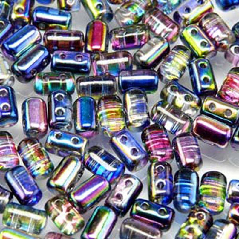 Magic Blue Pink Rulla Czech Glass 2-hole Seed Beads 3x5mm 22 Grams