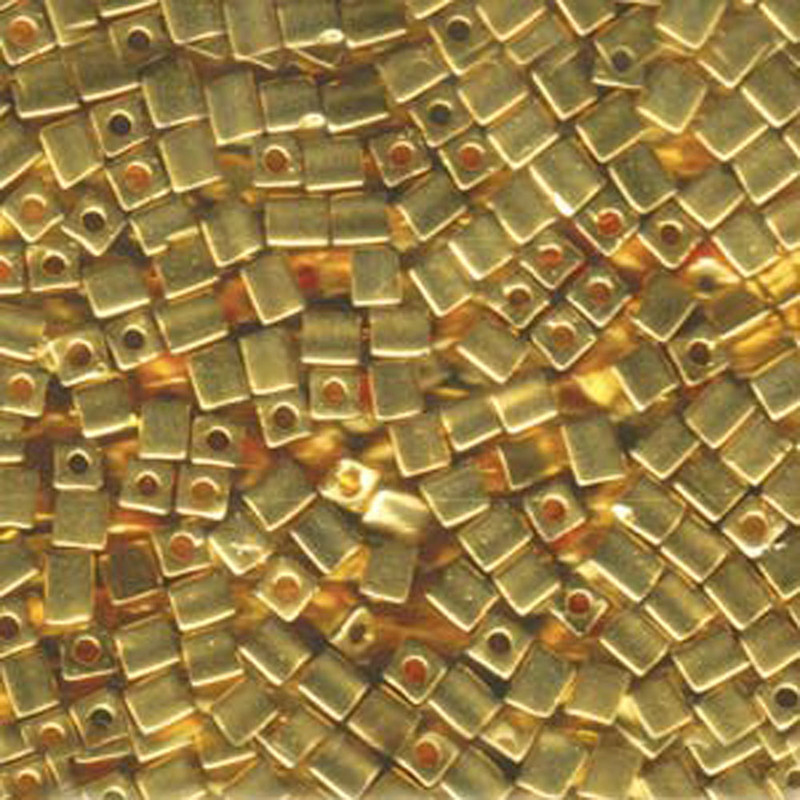 20Gr 24kt Gold Plated Miyuki 4mm Square Cube Glass Seed Beads