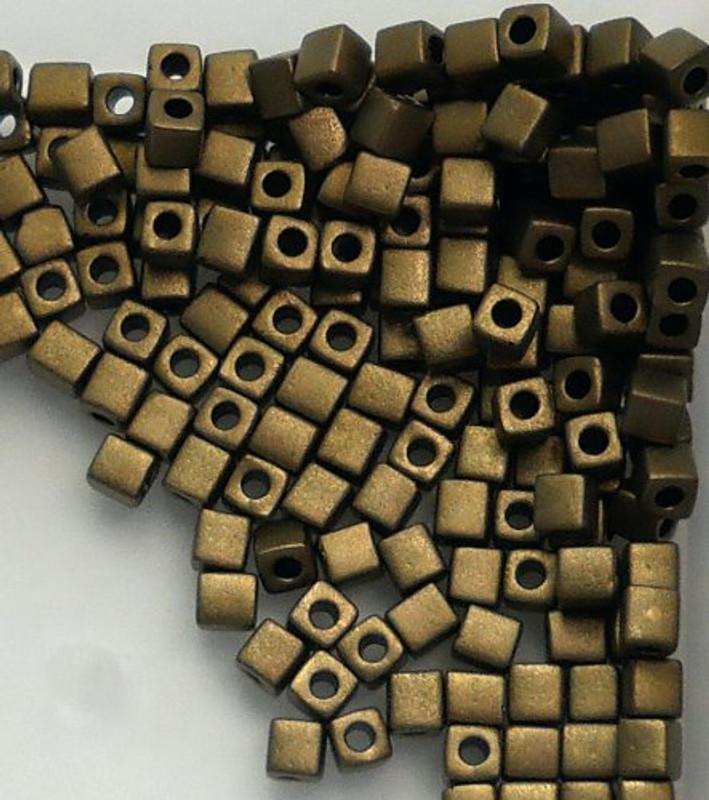 20Gr Bronze Metallic Matte Miyuki 4mm Square Cube Glass Seed Beads