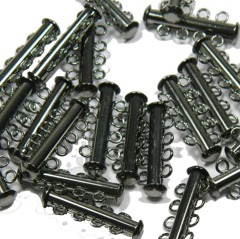 10 Pack Multi 4 Strand Slide Lock Clasps Gunmetal Black Oxide Plated Brass CLSP21BO