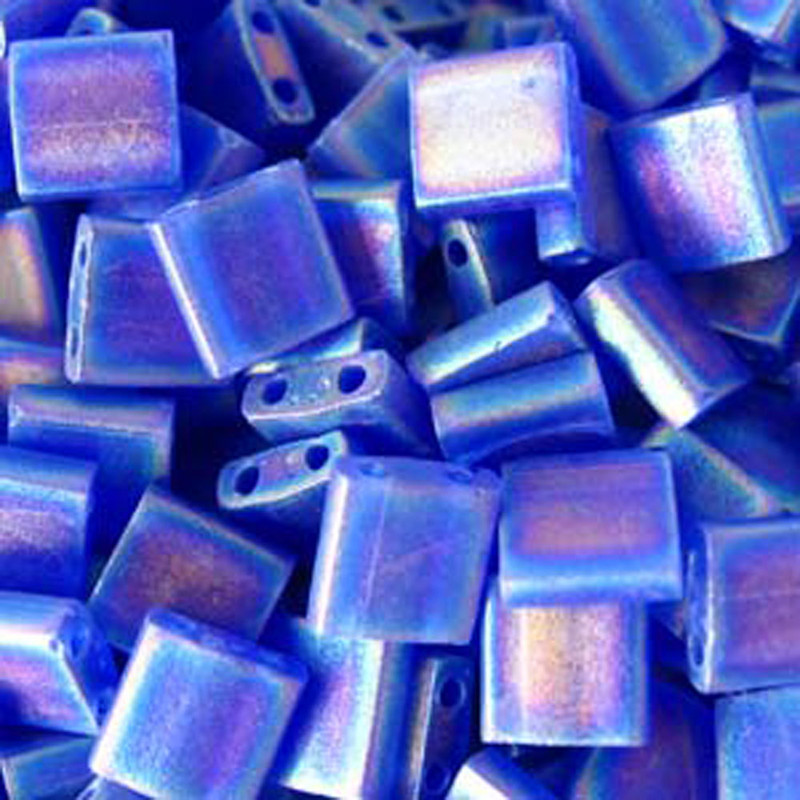 Cobalt Blue Ab Transp Matte Miyuki Tila Beads 7.2gm 2 Hole Seed Bead 5x5mm