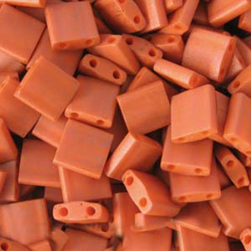Burnt Sienna Orange Opaque Miyuki Tila Beads 7.2gm 2 Hole Seed Bead 5x5mm