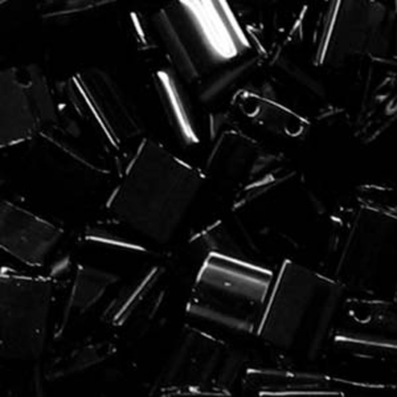Black Opaque Miyuki Tila Beads 7.2gm 2 Hole Seed Bead 5x5mm