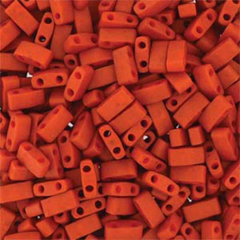 Burnt Sienna Half Tila Beads 7.2 Gram Miuki Square 5mm 2 hole