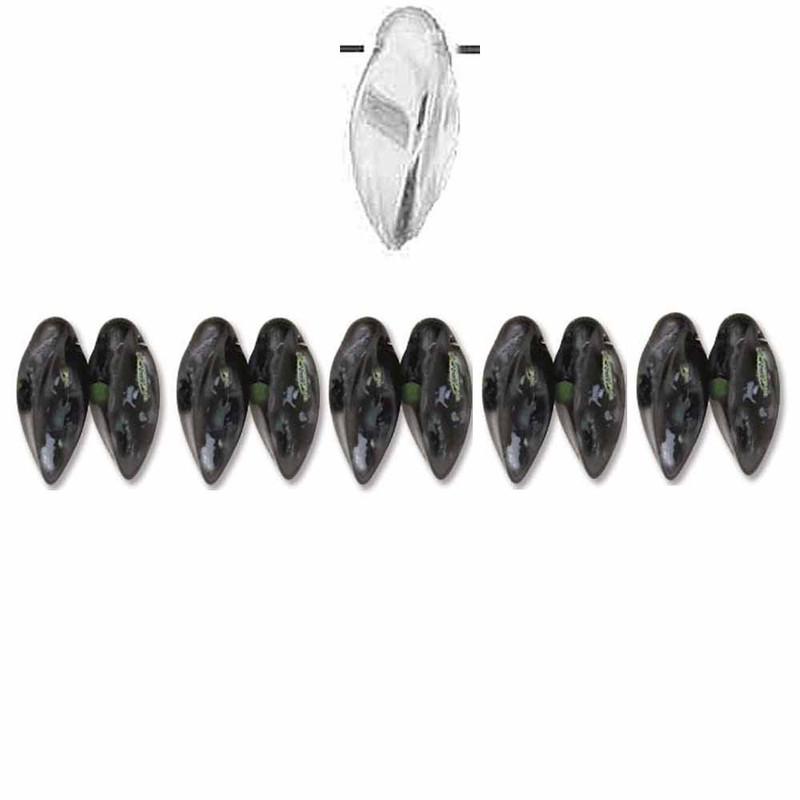 Jet Picasso Czech Glass Twist Beads 6x12mm Apprx 25 bead loose strand