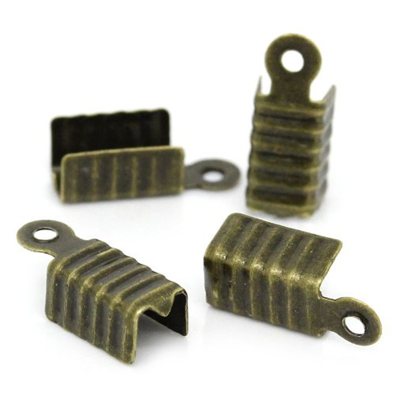 1000 Fold Over Cord Tip/ends Crimps Antiqued Brass 12x5mm Apx 1000 RB29039