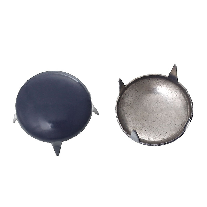 250 Spike Rivets Studs Round Silver Tone Painted Purple Grey 12mm 1/2 Inch