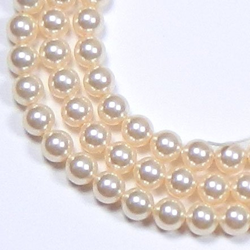 "100 Swarovski Crystal Pearls 4mm Round Beads 5810. 16"" Loose Strand Cream Rose"