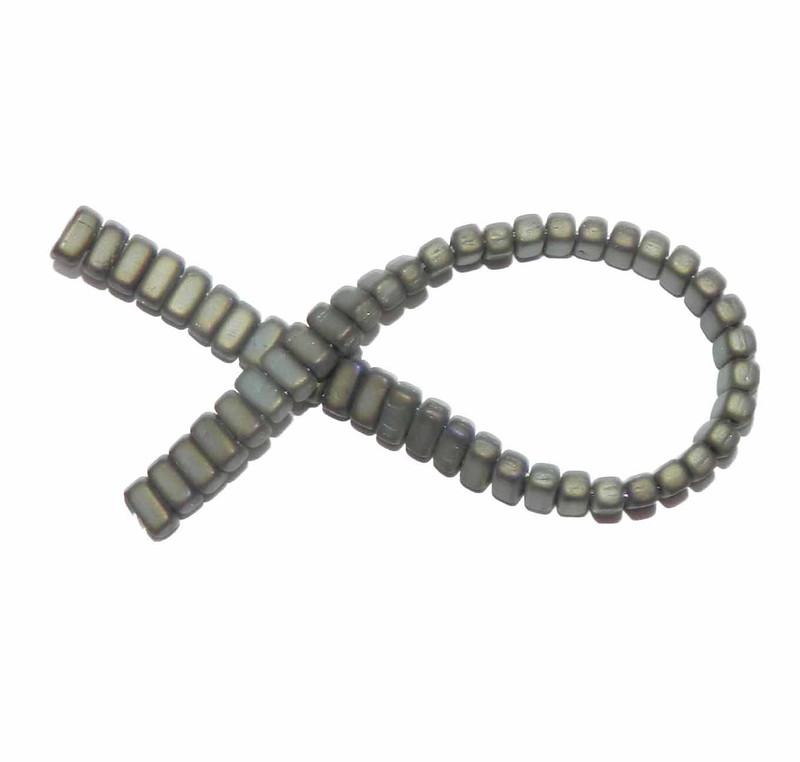 Iris Brown Matte Brick 3x6mm Square Glass Czech Two Hole 50 Tile Beads