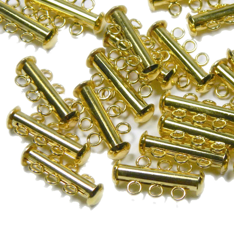 10 Pack Multi 3 Strand Slide Lock Clasps Gold Plated Brass CLSP04GP