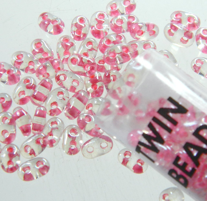 Color Lined Rose 2.5x5mm 2 Hole Twin Beads Czech Glass Seed Beads 23 Gram Tube