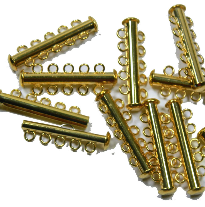 10 Pack Multi 5 Strand Slide Lock Clasps Gold Plated Brass CLSP22GP-10