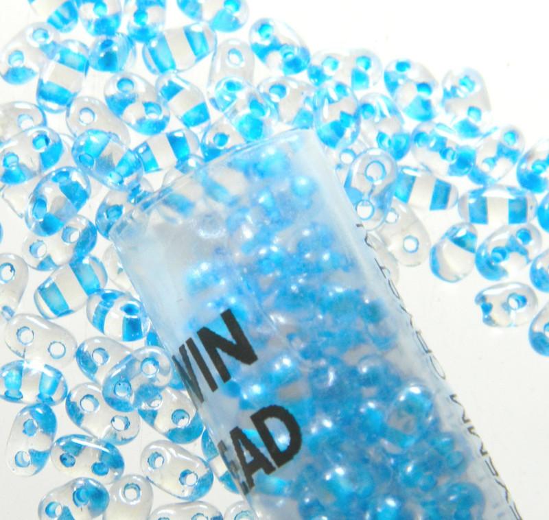 Aqua Color Lined 2.5x5mm 2 Hole Twin Beads Czech Glass Seed Beads 23 Gram Tube