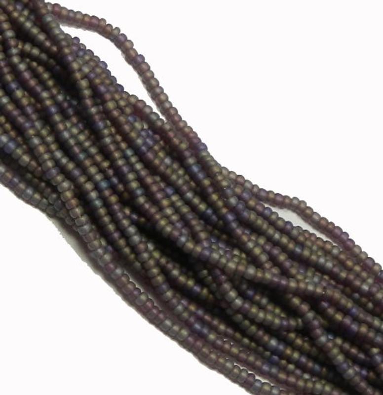 Amethyst Matte Ab Czech 8/0 Glass Seed Beads 12 Strand Hank Preciosa
