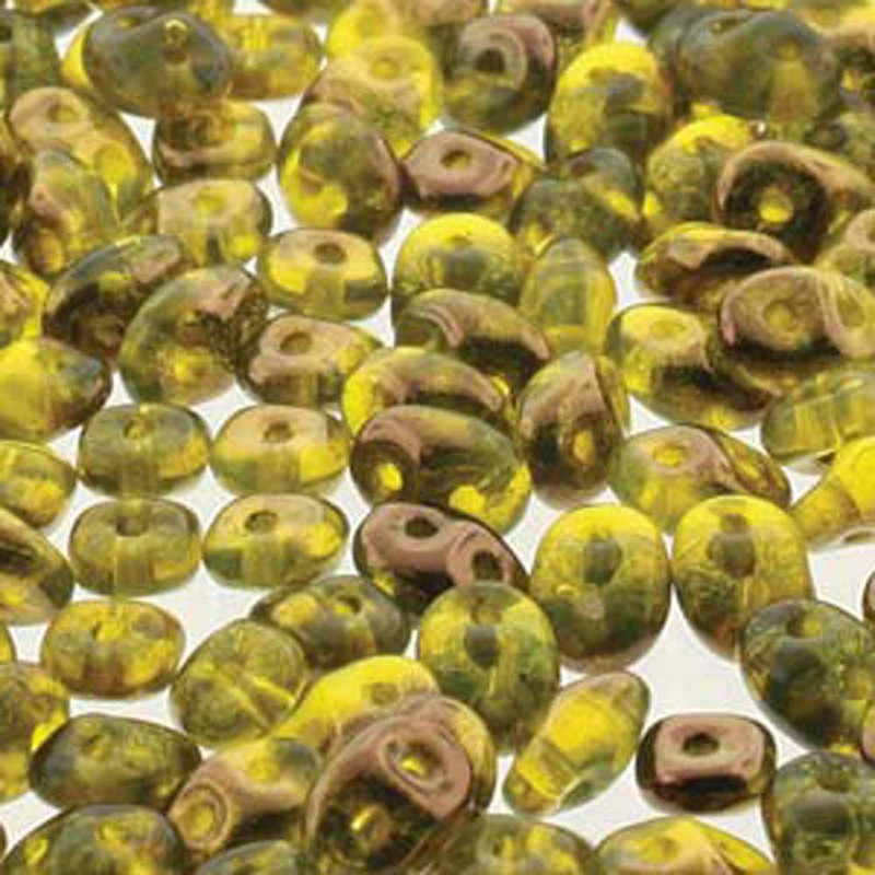 Amber semi Bronze Luster SuperDuo Czech Two Hole Seed Beads 2.5x5mm 20gr 21