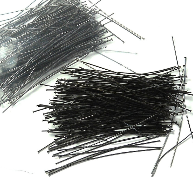 240 Head Pins .020dia X 2 Inch Gunmetal Plated Thin 24 Gauge Wire