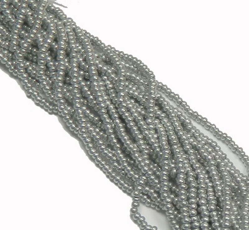 Bright Silver Czech 8/0 Glass Seed Beads 12 Strand Hank Preciosa