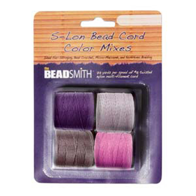 4 Spools Super-lon #18 Nylon Beading Jewelry Stringing Cord S-lon Lilac Mix