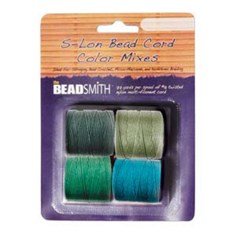 4 Spools Super-lon #18 Nylon Beading Jewelry Stringing Cord S-lon Evergreen Mix