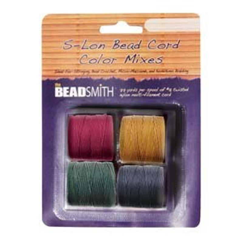 4 Spools Super-lon #18 Nylon Beading Jewelry Stringing Cord S-lon Dark Mix SLBC-MIX6