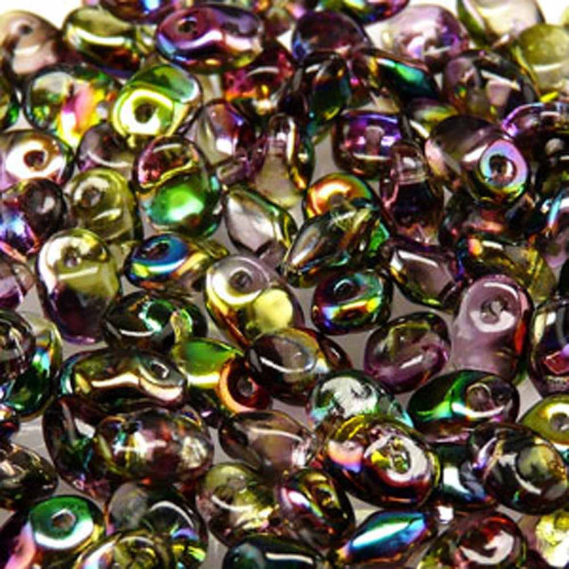 Crystal Magic Violet Green 2.5x5mm 1 ONE Hole Fringe Czech Glass Seed Beads 20gr