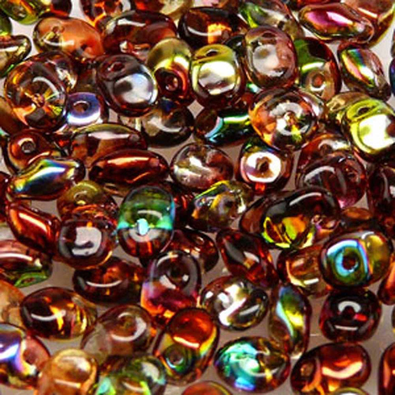 Crystal Magic Red Yellow 2.5x5mm 1 ONE Hole Fringe Czech Glass Seed Beads 20gr
