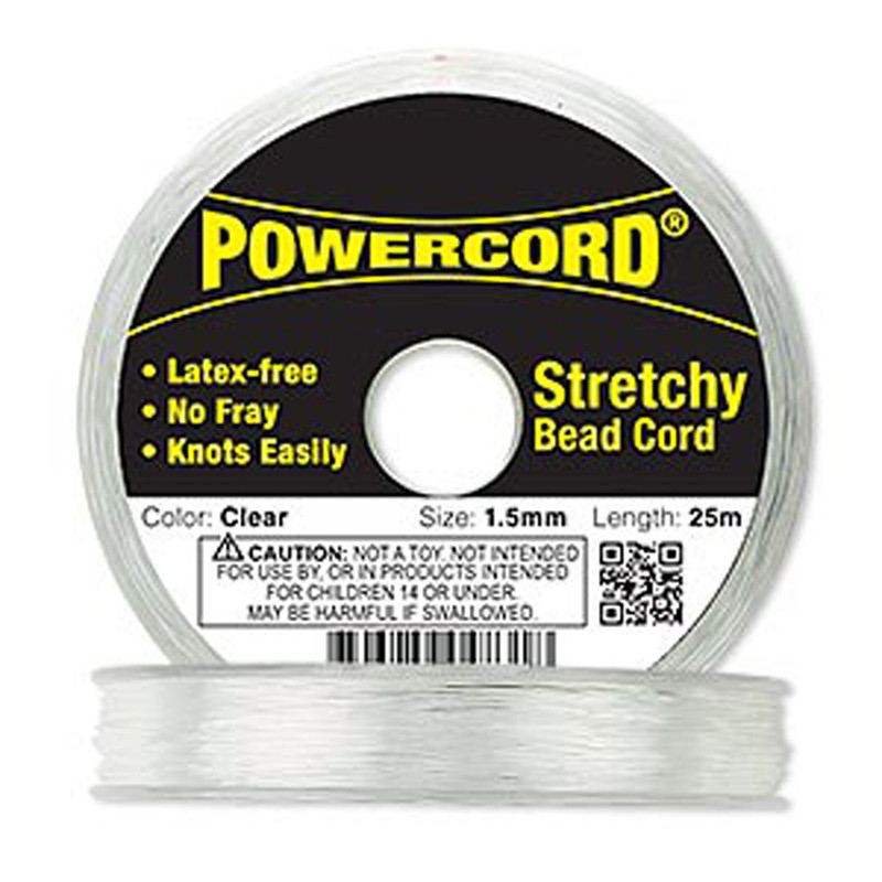 Powercord® Elastic Stretch Cord Clear 1.5mm 22-lb Test 25-Meter Latex-Free 1709BS