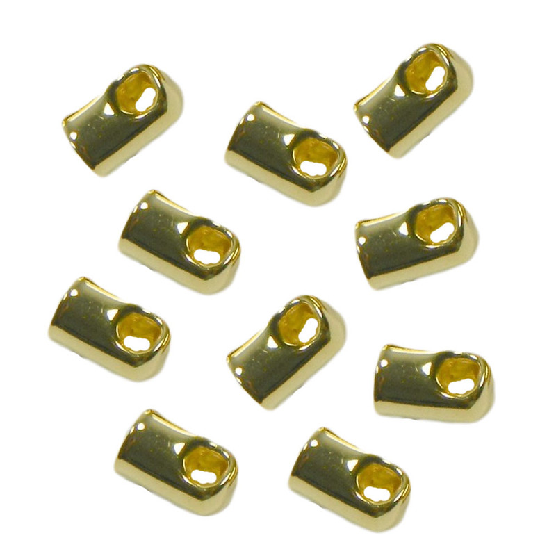100 Cord End Glue-in Style Gold-plated Brass 8x5mm 4mm Hole 1957FN