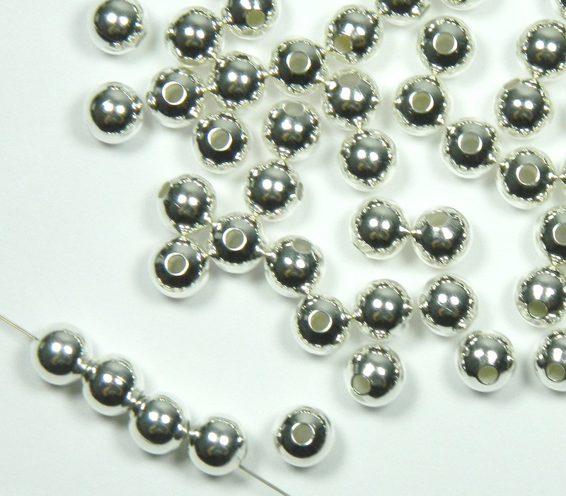 100 Shiny Silver Plated Brass Beads 9mm Smooth Round Jewelry Spacer Metal Bead 2877MB