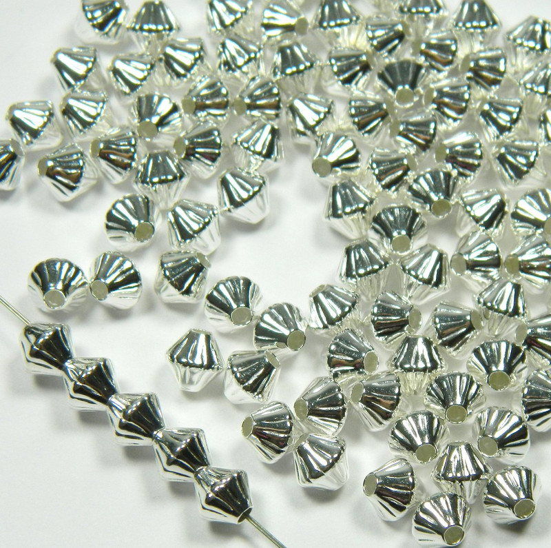 100 Shiny Silver Plated Brass Beads 6mm Corrugated Double Cone Spacer Metal 2939MB