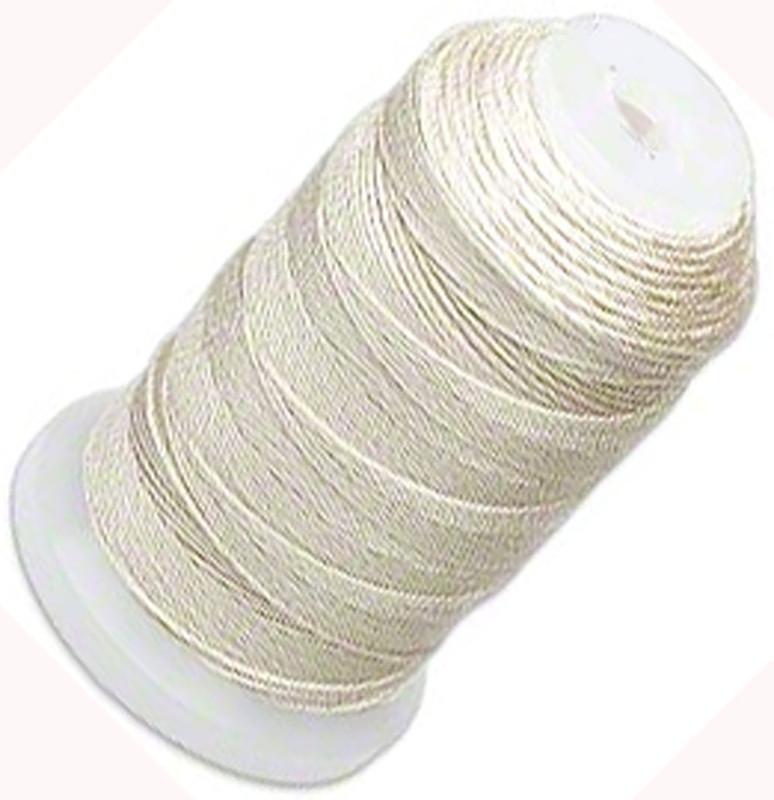 Silk Beading Thread Cord Size F Ecru 0.013 Inch 0.34mm Spool 140 Yd 5198BS